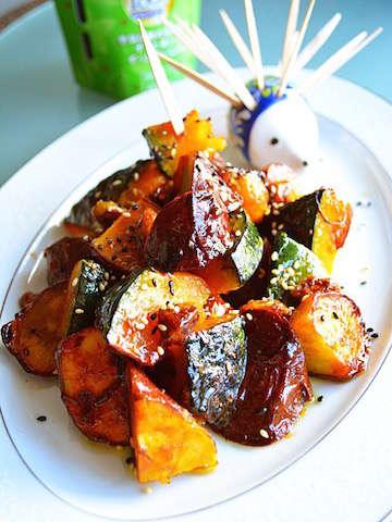 みんなのレシピ:カボチャとサツマイモのメープルしょうゆ絡め